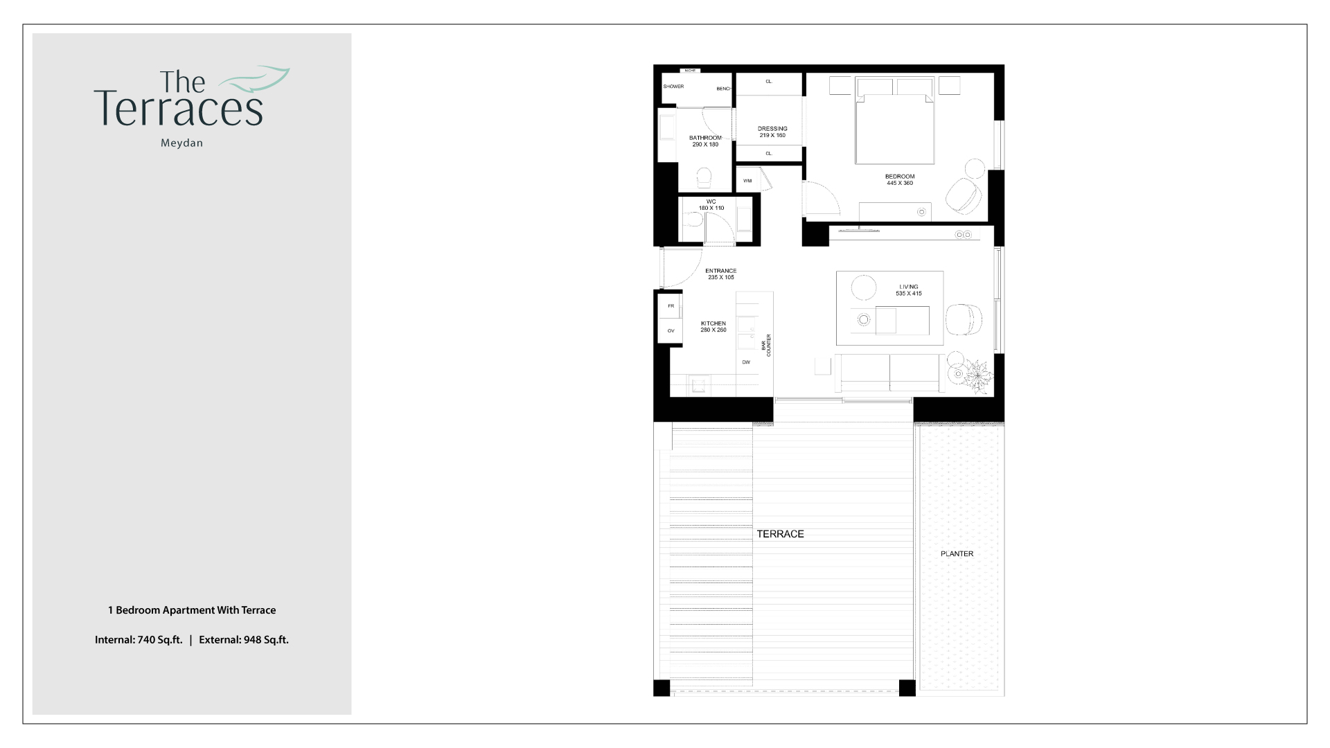 The Terraces 1 Bedroom Apartment With Terrace Floor Plan